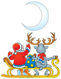 Santa Clause and Reindeer Royalty Free Stock Photos