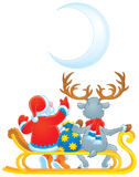 Santa Clause and Reindeer Royalty Free Stock Images