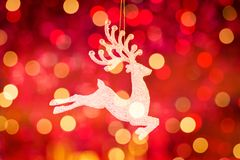 Santa Clause reindeer Rudolph. With light background stock photography