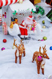 Santa Clause on reindeer sledge. Royalty Free Stock Image