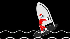 Santa of a rafting board.