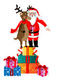 Santa Clause and Rudolph Royalty Free Stock Photography