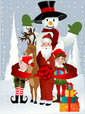 Santa Clause, Rudolph, Elf and Snowman. Illustration Royalty Free Stock Photo