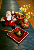 Santa Clause Russian. Toy Santa with Russian lacquer dishes Stock Photography