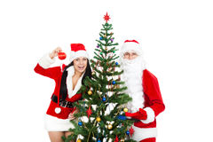 Santa Clause and Santa Giirl Stock Images