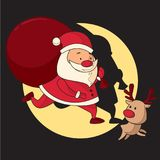 Santa Claus and Reindeer Make Sure Christmas Gifts Arrive on Time vector illustration
