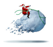 Santa Clause Snow Fun. As father christmas riding a flying giant snowball as a joyful happy winter celebration activity with 3D illustration elements on a white Royalty Free Stock Photos