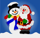 Santa Clause and Snowman Royalty Free Stock Photo