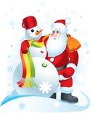 Santa Clause and Snowman stock illustration
