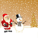Santa Clause and Snowman Royalty Free Stock Image