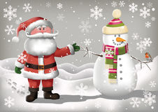Santa Clause and Snowman Royalty Free Stock Images