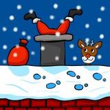 Santa Clause Stuck en una chimenea stock de ilustración