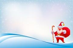 Santa Clause su fondo astratto con il modello senza cuciture Fotografia Stock Libera da Diritti