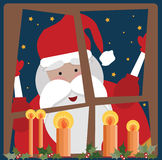 Santa Clause in a window royalty free illustration
