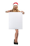 Santa Clause woman with empty blank board Stock Photography