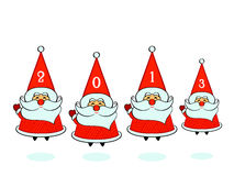 Santa Clauses. Happy jumping Santa Clauses with 2013 Stock Illustration
