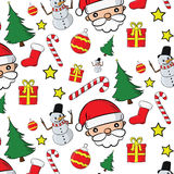 Santa Clauses ajustou-se para o Natal Fotografia de Stock