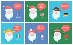 Santa Clauses from All Over World Festive Posters. Santa Clauses from all over world in ethnic headdresses greet with New Year on foreign languages festive Stock Photography