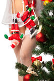 Santa Clauses clamber up sexy legs Stock Photo