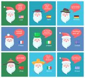 Santa Clauses on Festive Posters with Greetings. Santa Clauses on festive posters with New Year greetings in languages from all over world and small national Stock Photo
