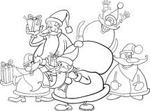 Santa clauses group for coloring Stock Photo