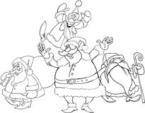 Santa clauses group for coloring Royalty Free Stock Image