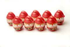 Santa Clauses In Two Lines Royalty Free Stock Photos
