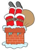 Santa Clauses legs with chimney Royalty Free Stock Photography