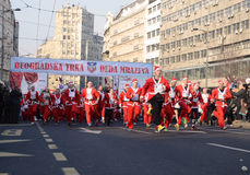 Santa Clauses race in Belgrade, Serbia Stock Images