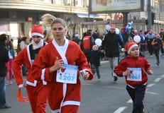 Santa Clauses race in Belgrade, Serbia Royalty Free Stock Image