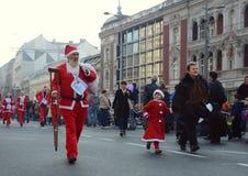 Santa Clauses race in Belgrade, Serbia Stock Photos