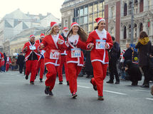 Santa Clauses race in Belgrade, Serbia Royalty Free Stock Photos