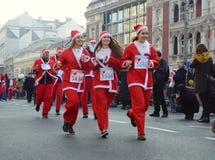 Santa Clauses race in Belgrade, Serbia Royalty Free Stock Photos