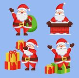 Santa Clauses Set icon Vector Snow Chimney Bag Box. Santa Clauses set of icons. Saint Nicholas with bag going to present gift boxes, Father Christmas in chimney Royalty Free Stock Photography