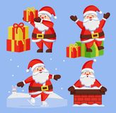 Santa Clauses Set icon Vector Snow Chimney Present. Santa Clauses set of icons. Saint Nicholas with wish gift boxes wishes Merry xmas, Father Christmas in Royalty Free Stock Images