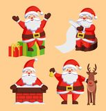 Santa Clauses Set icons Vector Snow Chimney Deer. Santa Clauses set of icons. Saint Nicholas with wish list sitting on gift boxes, Father Christmas in chimney Royalty Free Stock Images
