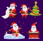 Santa Clauses Set icons Vector Snow Chimney Tree. Santa Clauses set of icons. Saint Nicholas with wish list, Santy decorates tree, Father Christmas in chimney Royalty Free Stock Images
