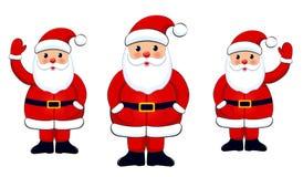 Santa Clauses stellte auf weißen Hintergrund ein Stockbild