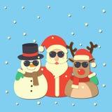 Santa Clauses-vector voor Kerstmis wordt geplaatst die Stock Afbeelding