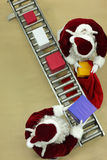 Santa clauses working at conveyor belt in Christma stock photography