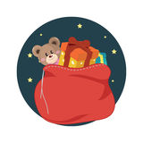 Santa Clauss Bag Containing Christmas Gift Images libres de droits