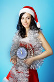 Santa, with a clock Stock Images