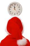 Santa and clock Royalty Free Stock Photography