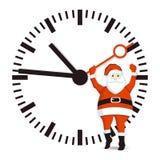 Santa with clock Royalty Free Stock Photo