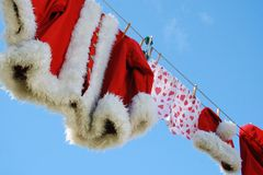 Santa clothes line Royalty Free Stock Photo
