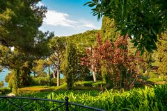 Santa Clotilde Gardens. Beautiful view on sea from the Santa Clotilde Gardens in Lloret de Mar, Spain Royalty Free Stock Images