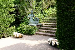 Santa Clotilde gardens. Mermaid statue in Santa Clotilde gardens, Lloret de Mar , Spain stock images