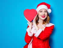 Free Santa Clous Girl In Red Clothes With Gift Box Royalty Free Stock Images - 95363139