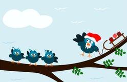 Santa clouzel. Birdie santa bringing presents for kids Stock Photo