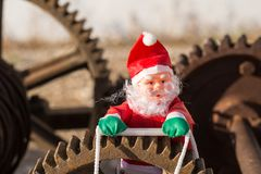 Overworked Santa on duty royalty free stock photos